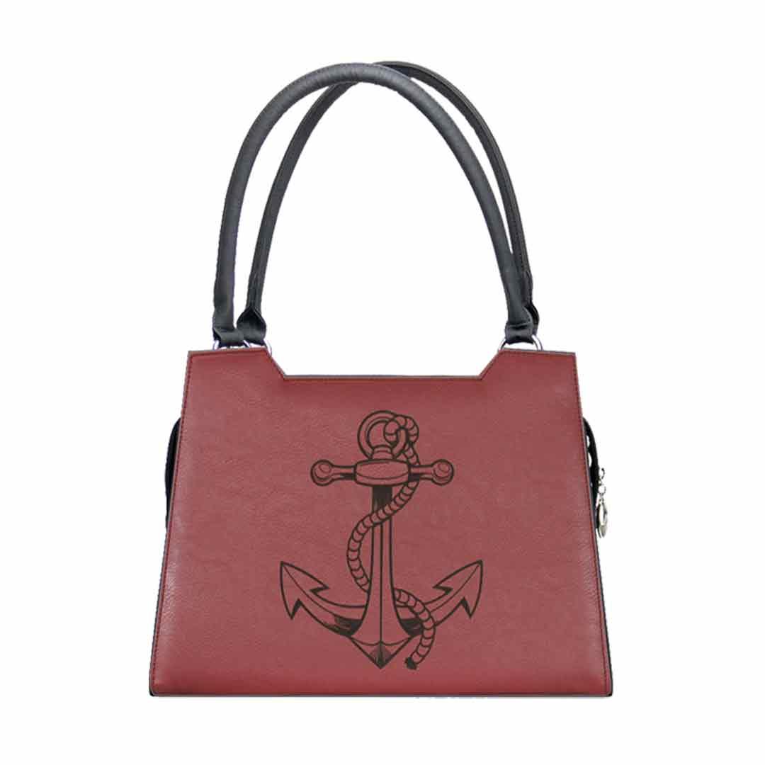 Terrakotta farbende Handtasche mit Lasergravur Anker Delieta elegance