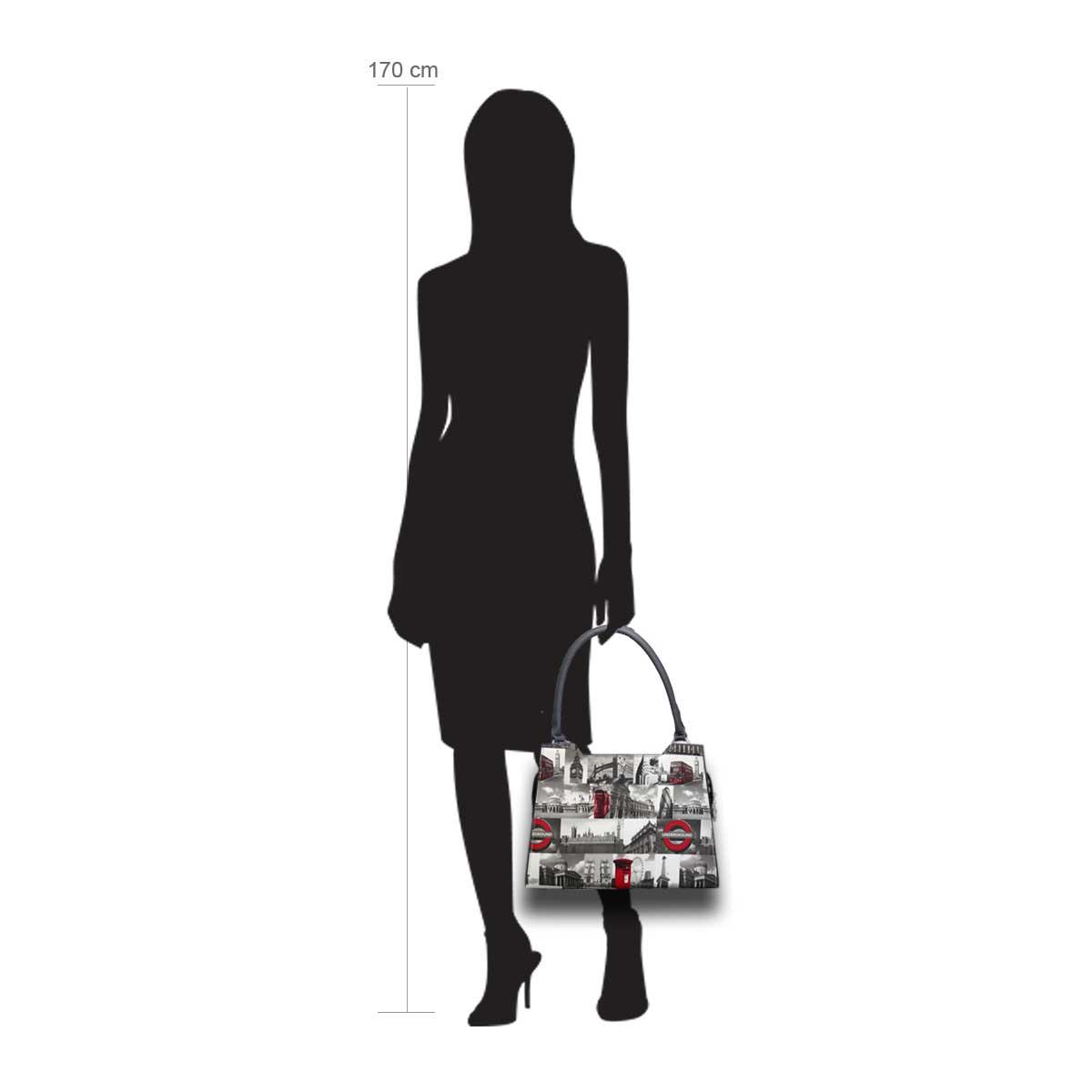 Puppe 170 cm groß zeigt die Taschengröße an . Modell: City London
