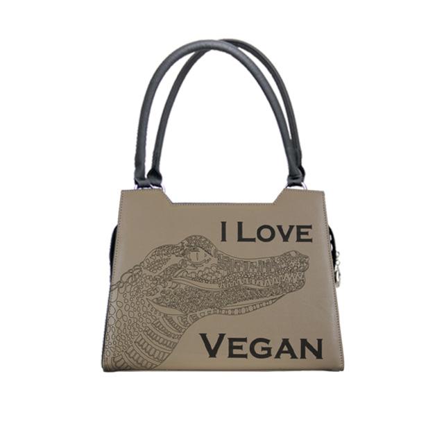 sandfarbene Handtasche mit Lasergravur   I love Vegan