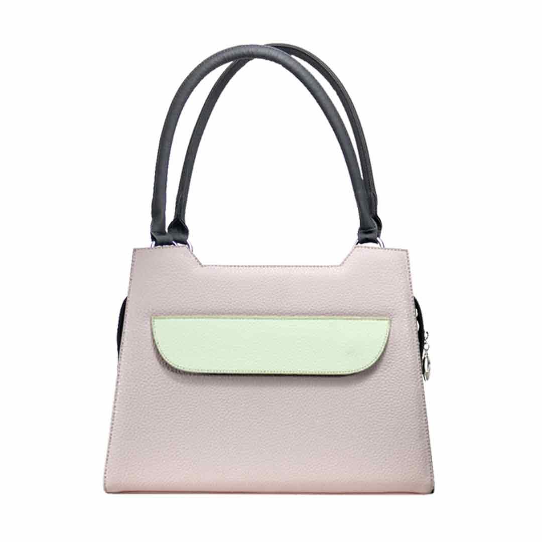 zart rosa Handtasche mit cremefarbener Klappe Modell Lissabon rosa