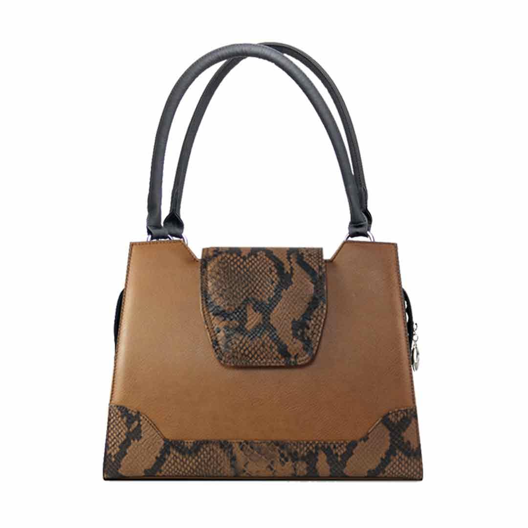 Tabakbraune Handtasche mit dunkelbrauner Schlangenoptik Modell Delieta elegance