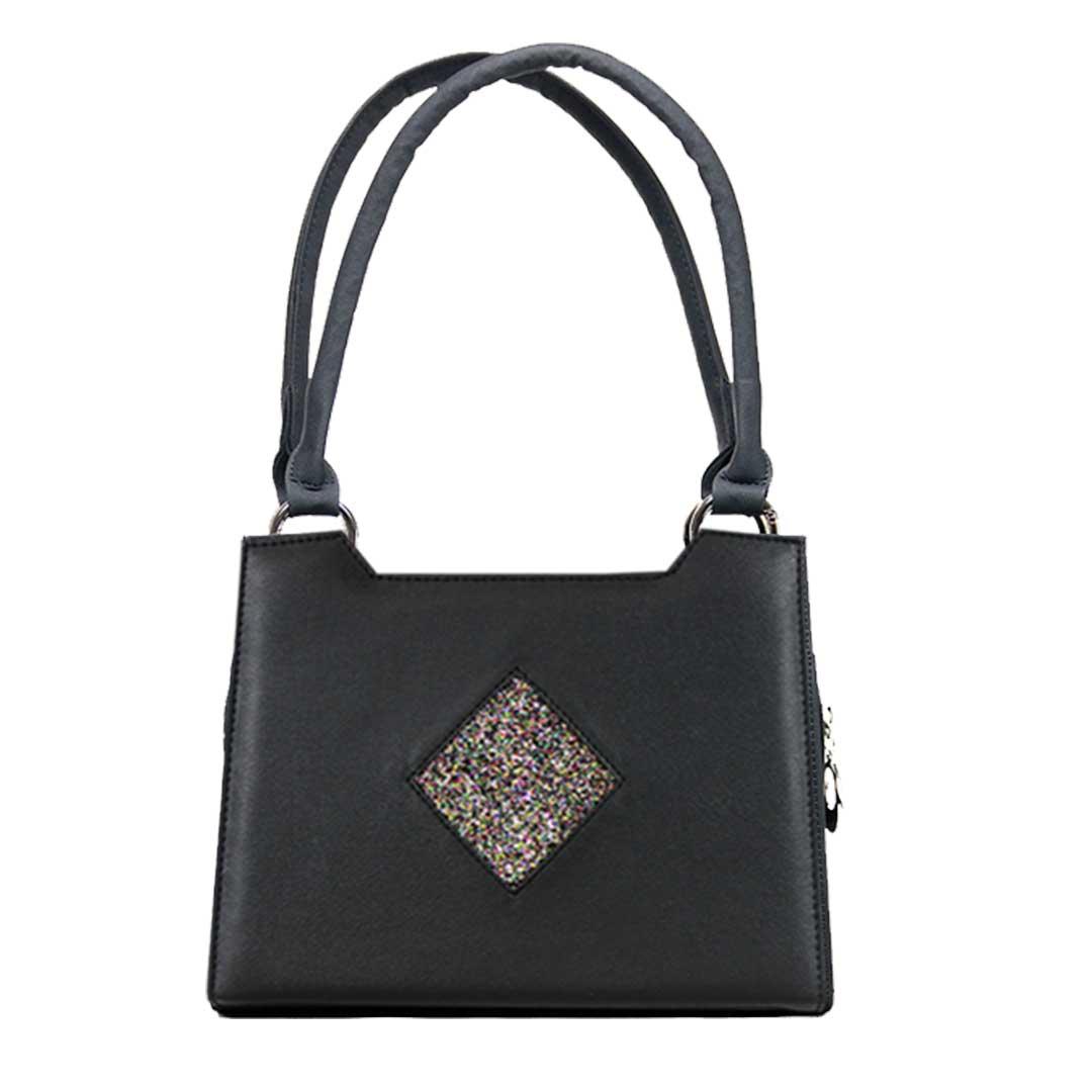 schwarze Handtasche mit goldfarbenen Karon Komplett Set Delieta mini Handtasche