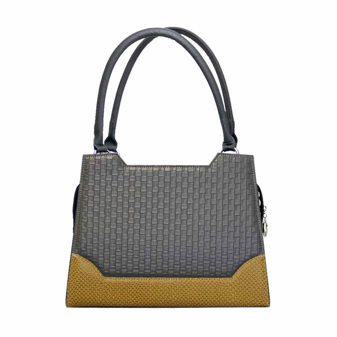 grau gelbe Karomuster Handtasche Delieta elegance komplett