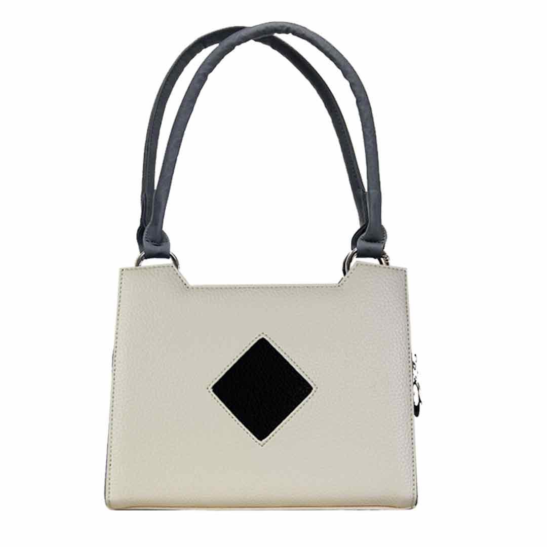cremefarbene Handtasche im Angebot mit schwarzem Karo in der Mitte