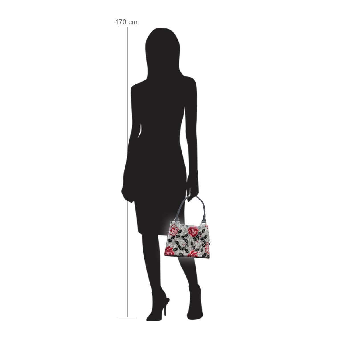 Modellpuppe 170 cm groß zeigt die Handtaschengröße an der Person Modell:Aruba