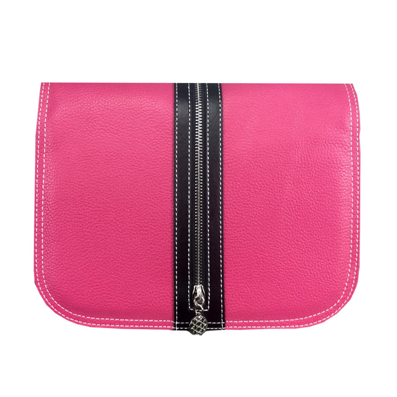 leuchtendes pinkfarbenes  Handtaschen design mit schwarzen Reißverschluss
