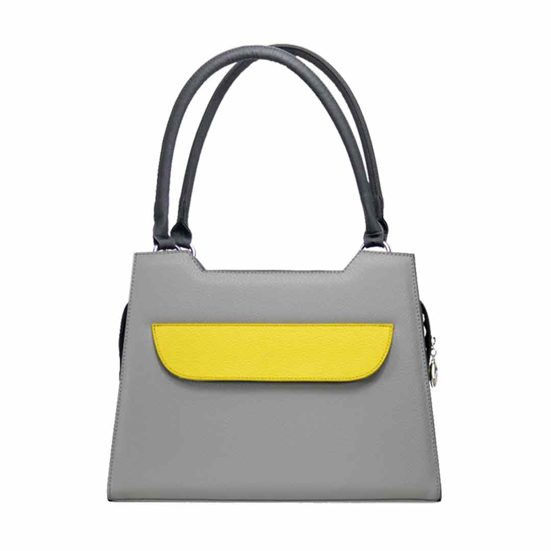gaue Handtasche mit gelber Klappe modell elegance :Lissabon grau