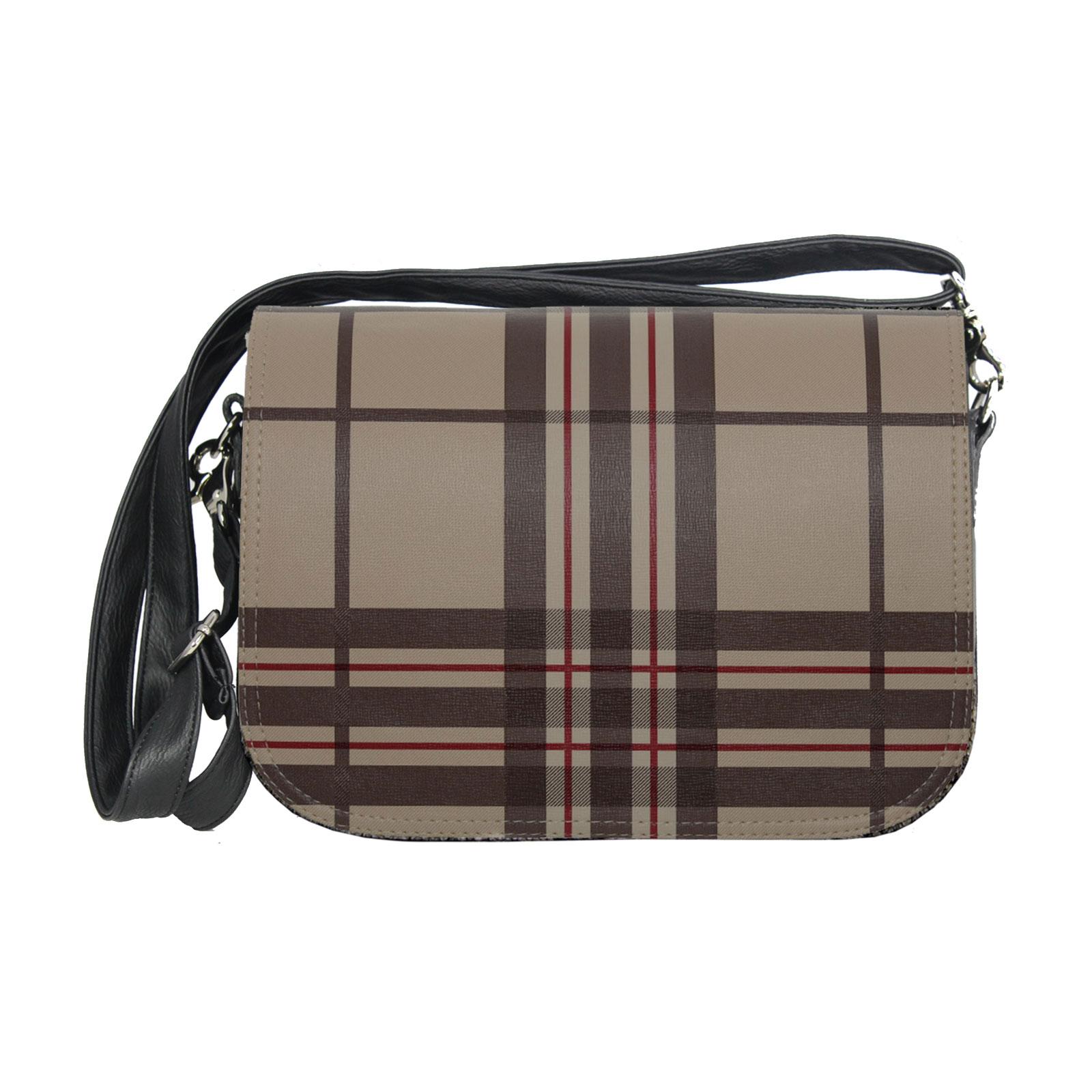 braunes Karomuster mit Damenhandtasche soft Bag