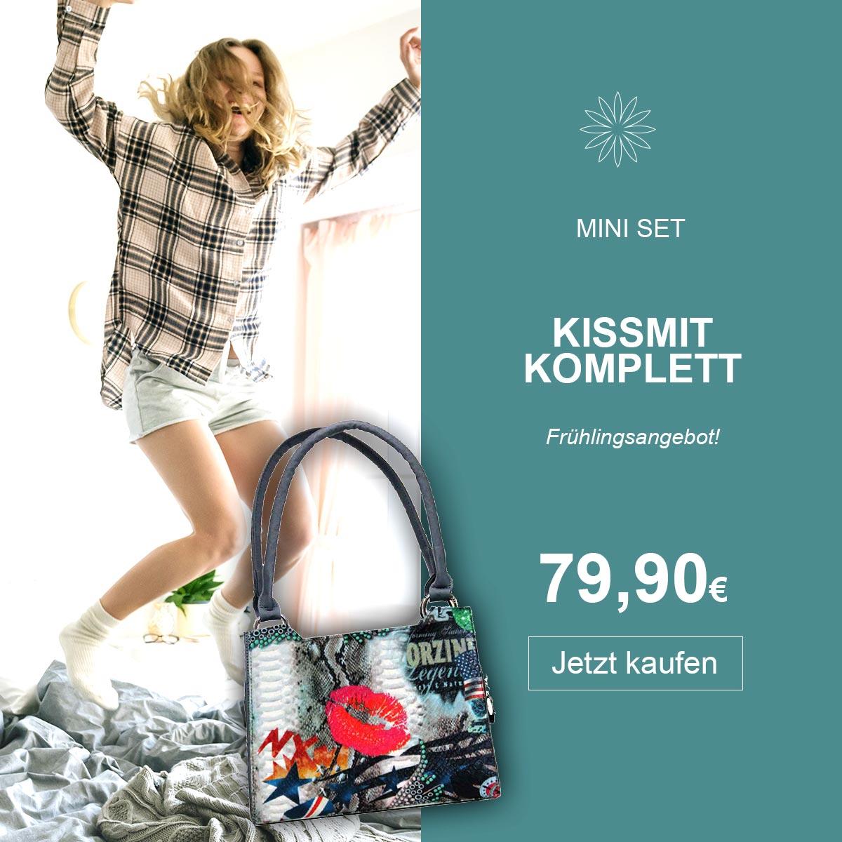 Frau happy mit mini Kissmit