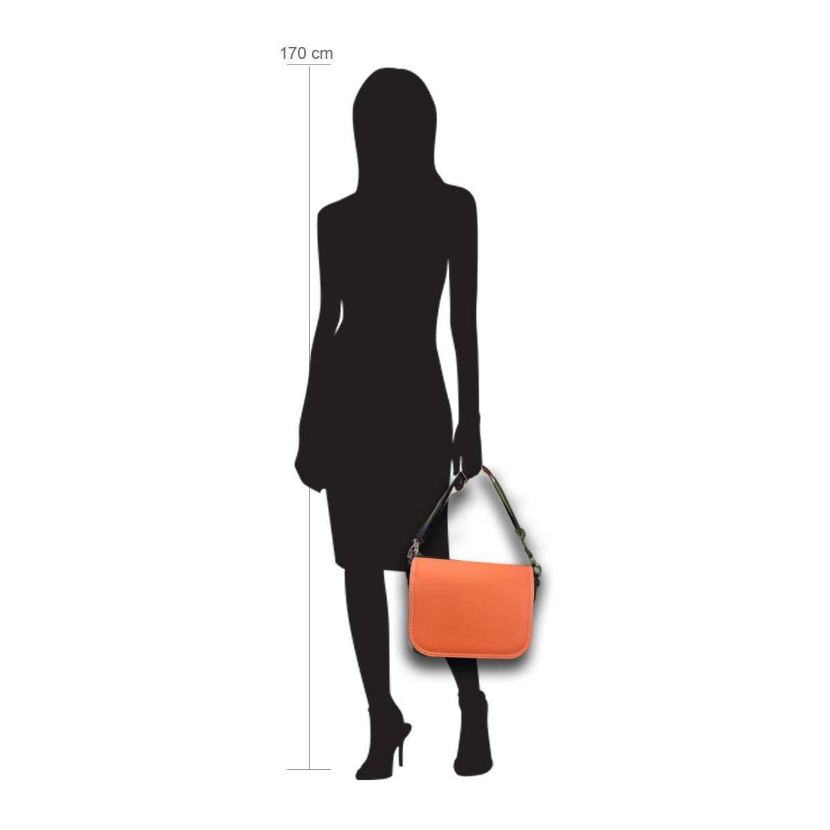 Modellpuppe 170 cm groß zeigt die Handtaschengröße an der Person Modell:Orange