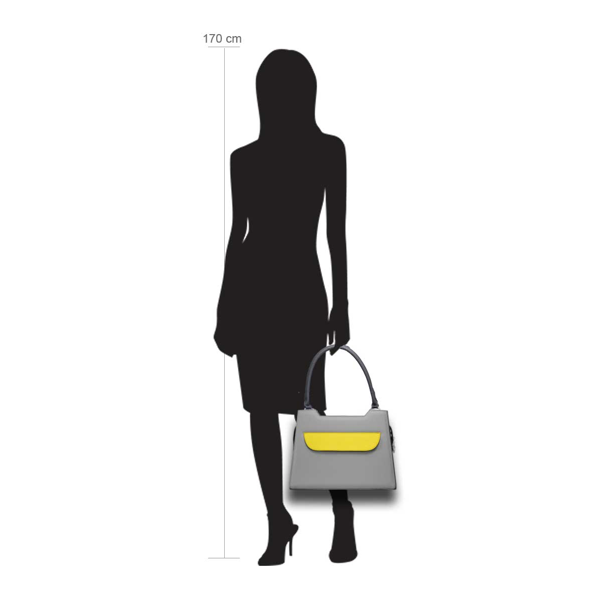 Puppe 170 cm groß zeigt die Taschengröße an . Modell: Lissabon grau gelb