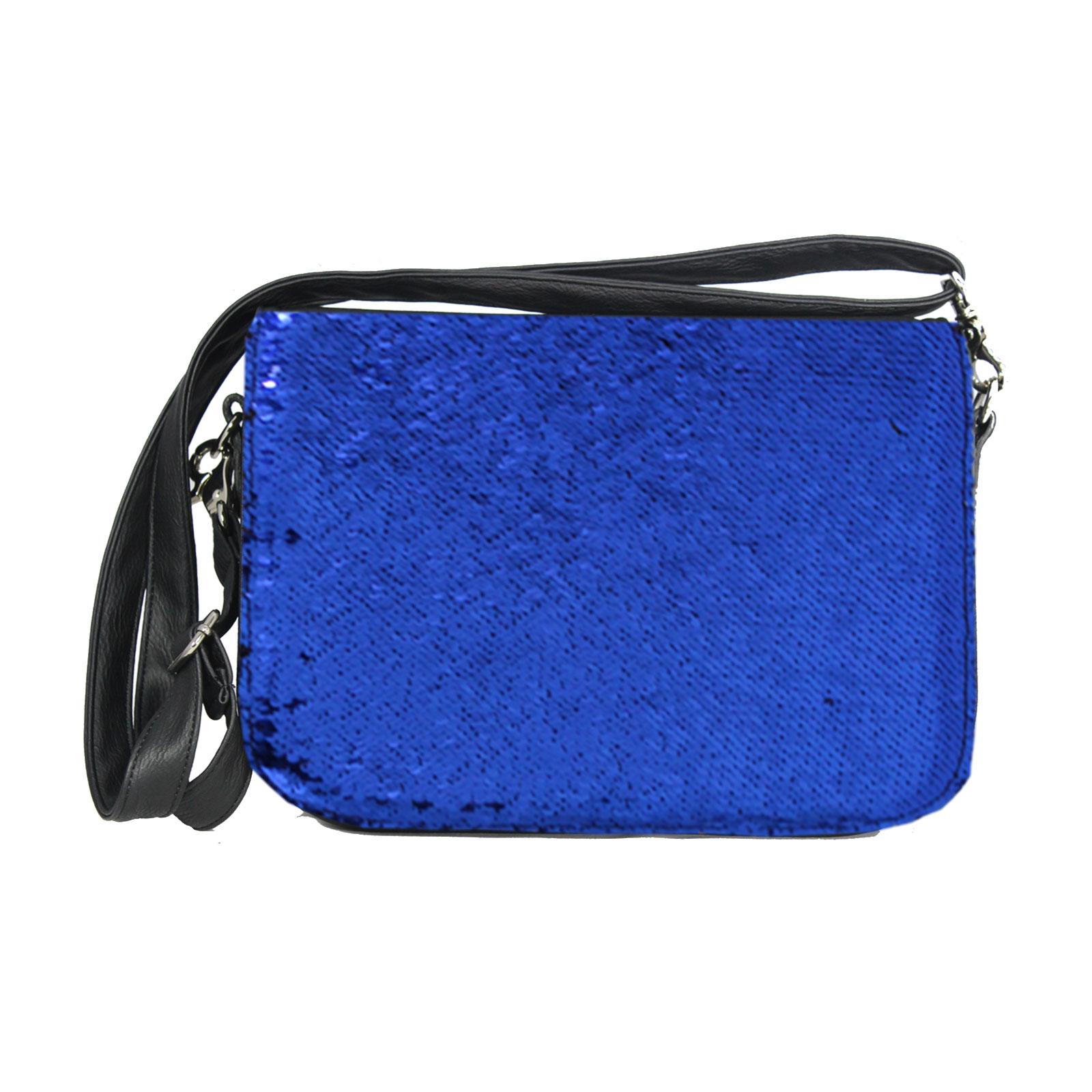 Paillettendesign in Blau mit Handtasche