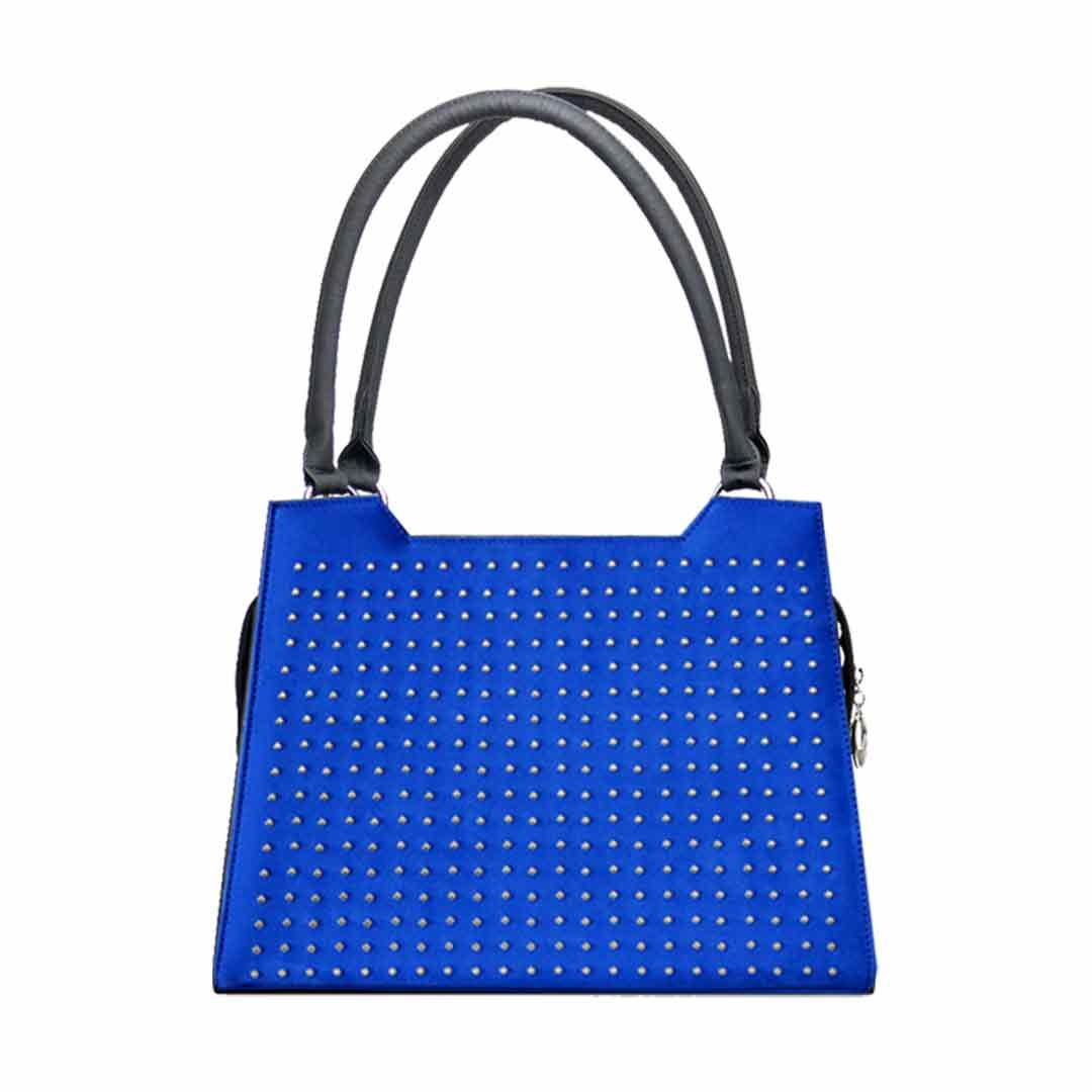 kräftige blaue Handtasche mit Metallapplikatione nauf der Vorderseite Modell Elegance Luxor