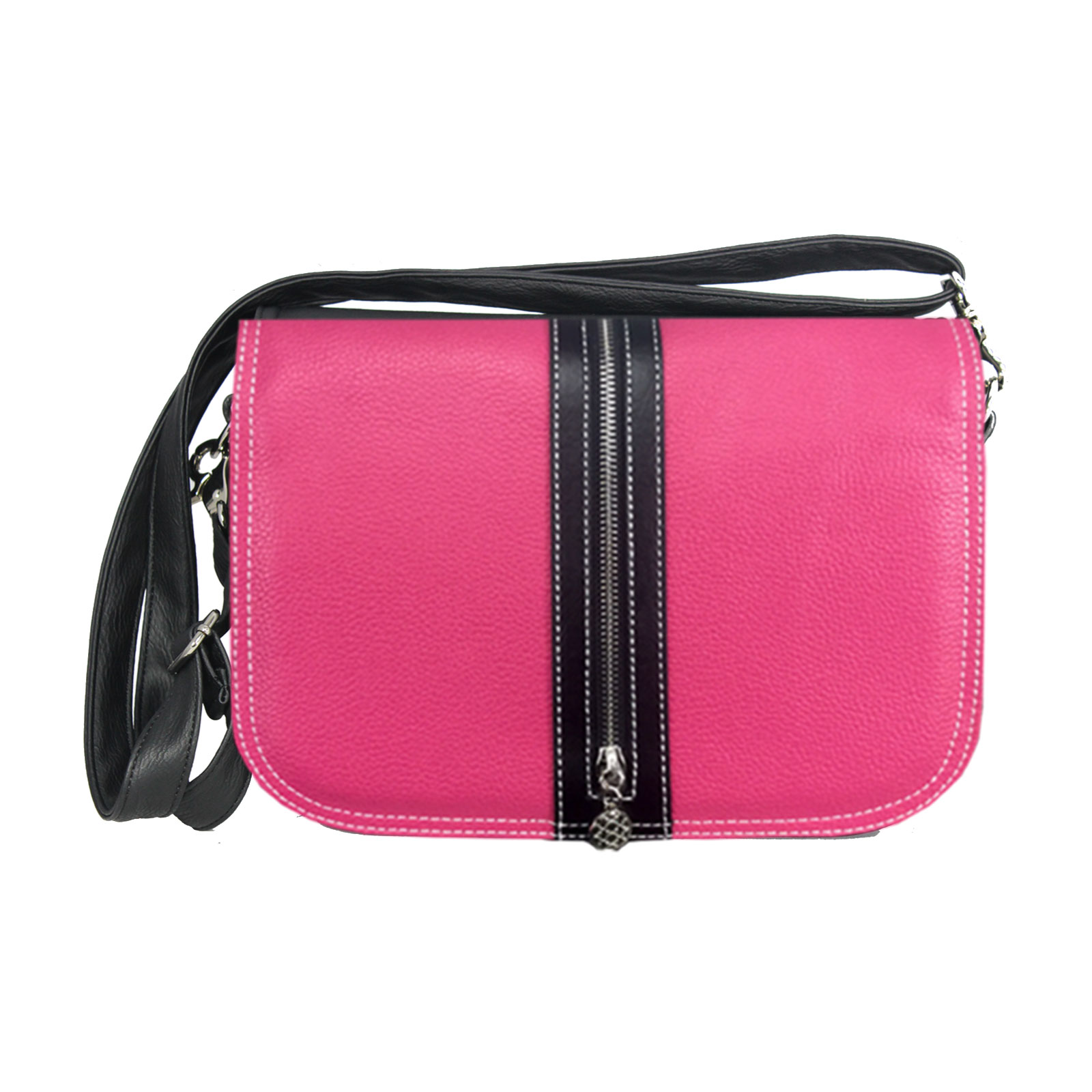 Pinkfarbene Handtasche mit schwarzen Zierreissverschluss
