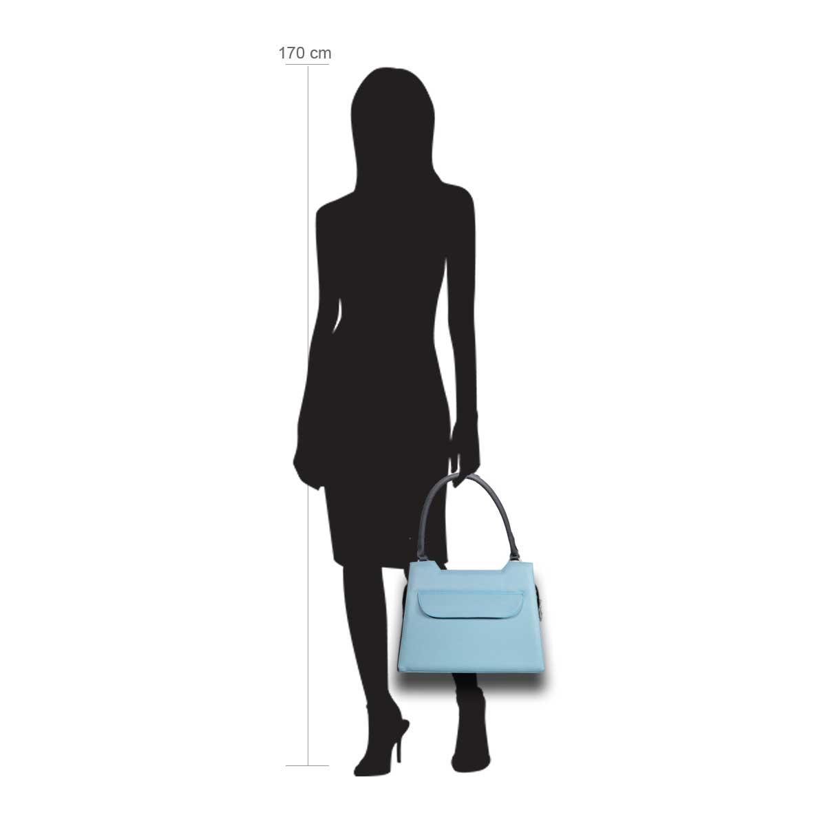 Puppe 170 cm groß zeigt die Taschengröße an . Modell: Lissabon hellblau