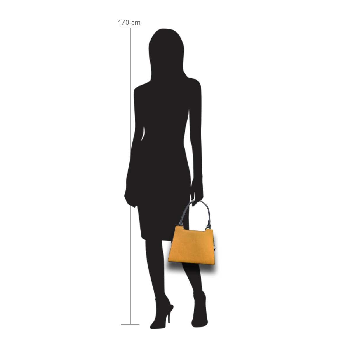 Modellpuppe 170 cm groß zeigt die Handtaschengröße an der Person Modell:Ocker