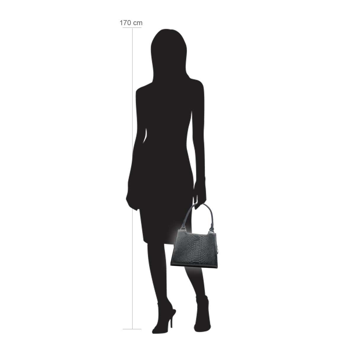 Modellpuppe 170 cm groß zeigt die Handtaschengröße an der Person Modell:Borneo