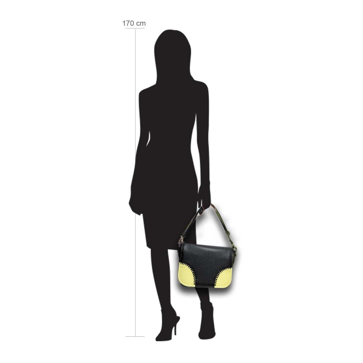 Modellpuppe 170 cm groß zeigt die Handtaschengröße an der Person Modell:Masca