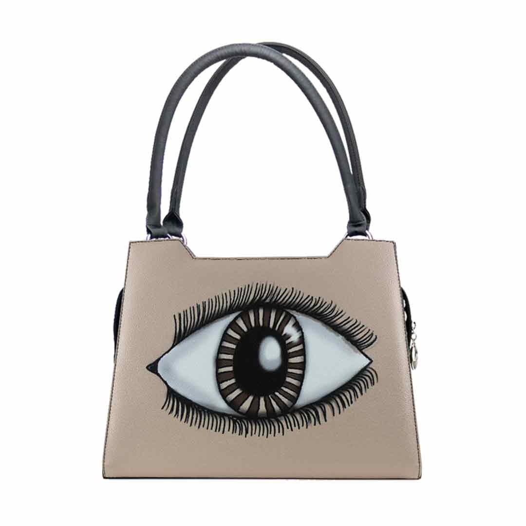 Sandbraune Handtasche mit einem abgebildet Auge auf der Vorderseite Modell elegance