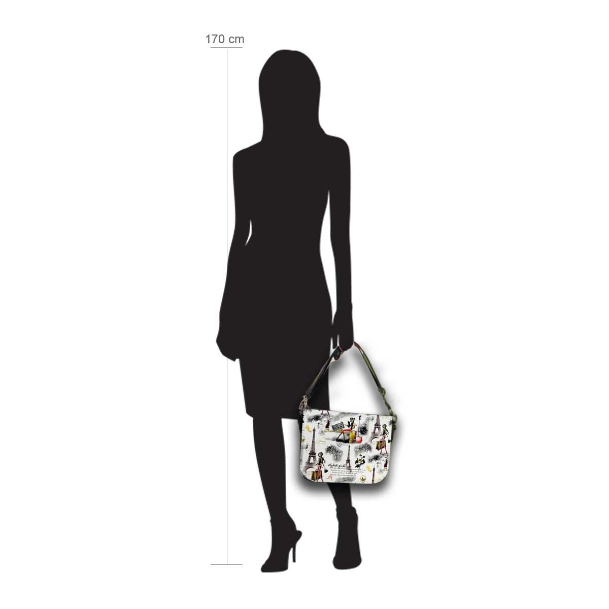 Modellpuppe 170 cm groß zeigt die Handtaschengröße an der Person Modell:Traveller