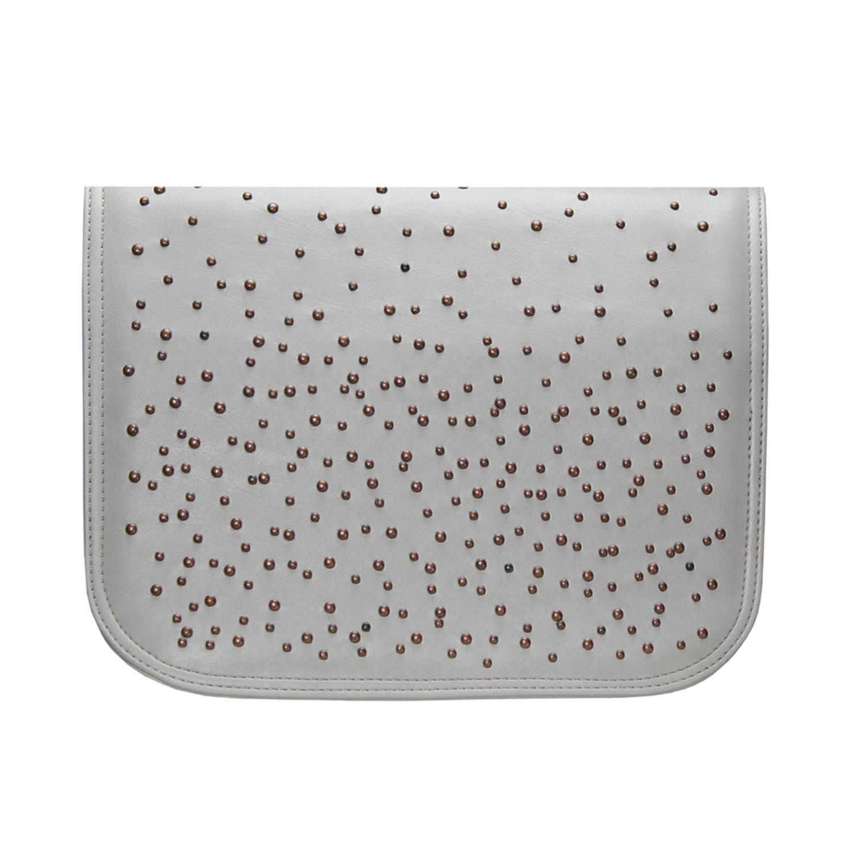 Handtaschen Design in grau mit Bronzefarbenen Apllikationen