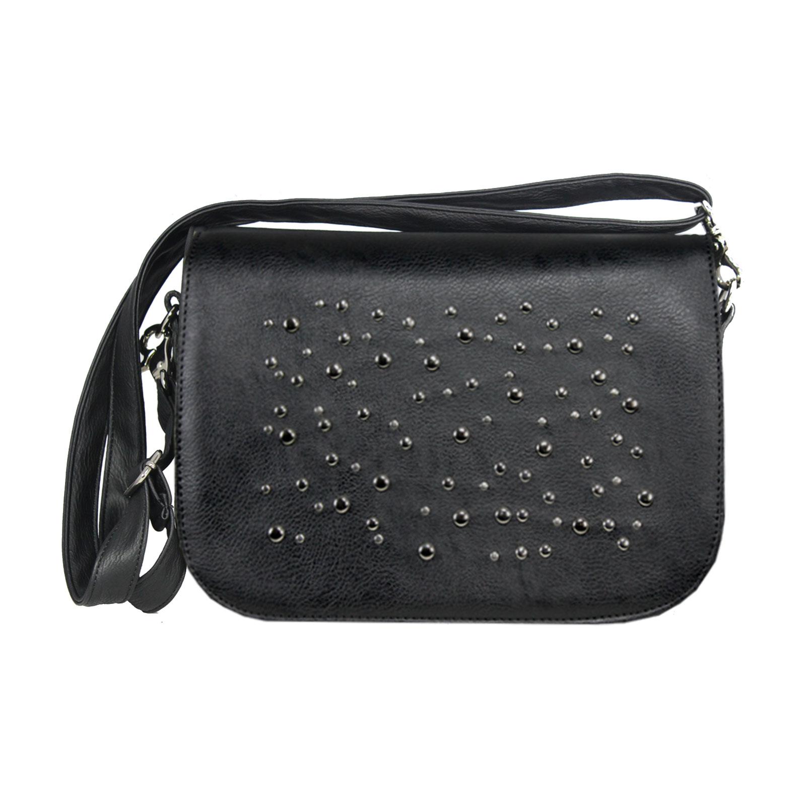 schwarze Handtasche mit Metallnieten rund