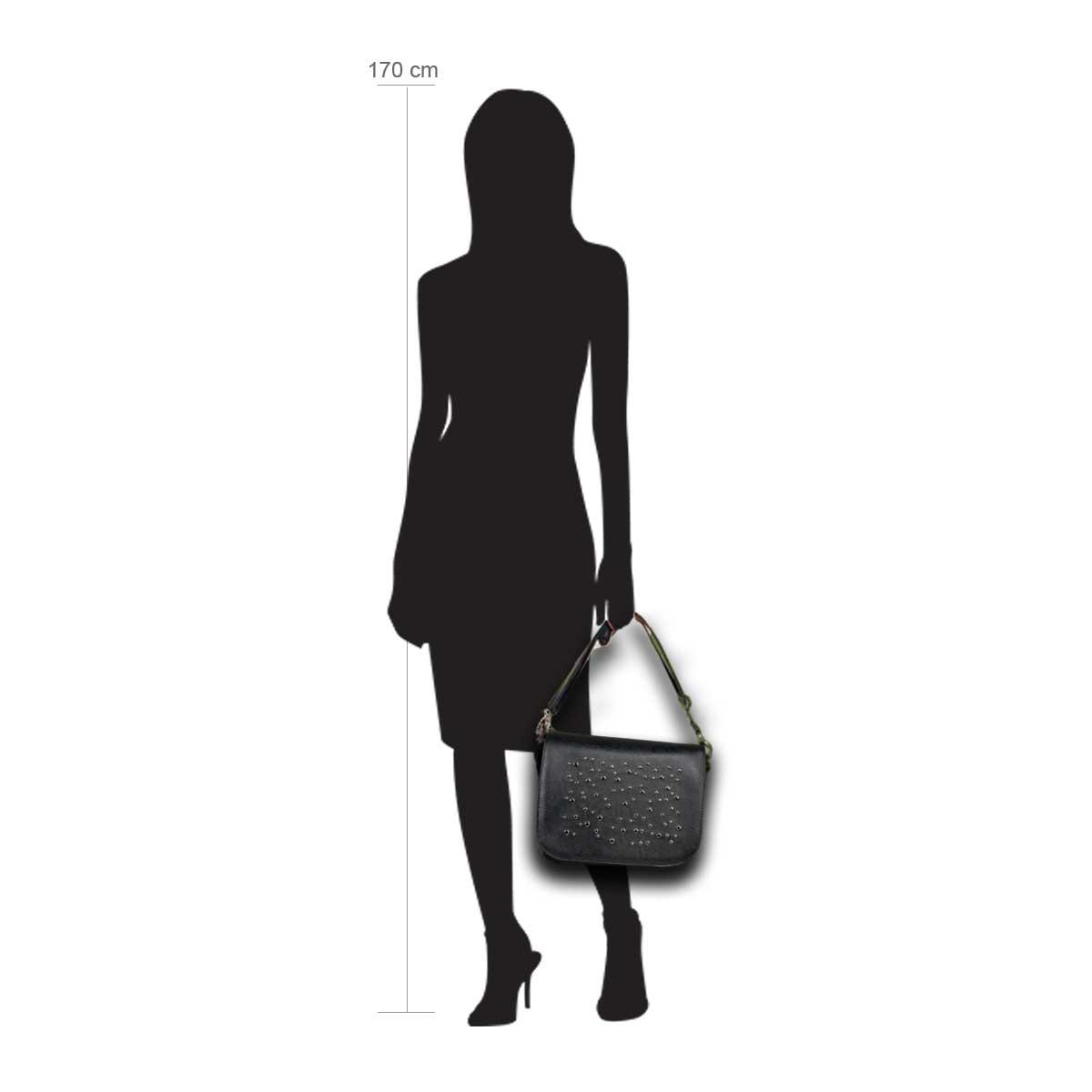 Modellpuppe 170 cm groß zeigt die Handtaschengröße an der Person Modell:Garachico