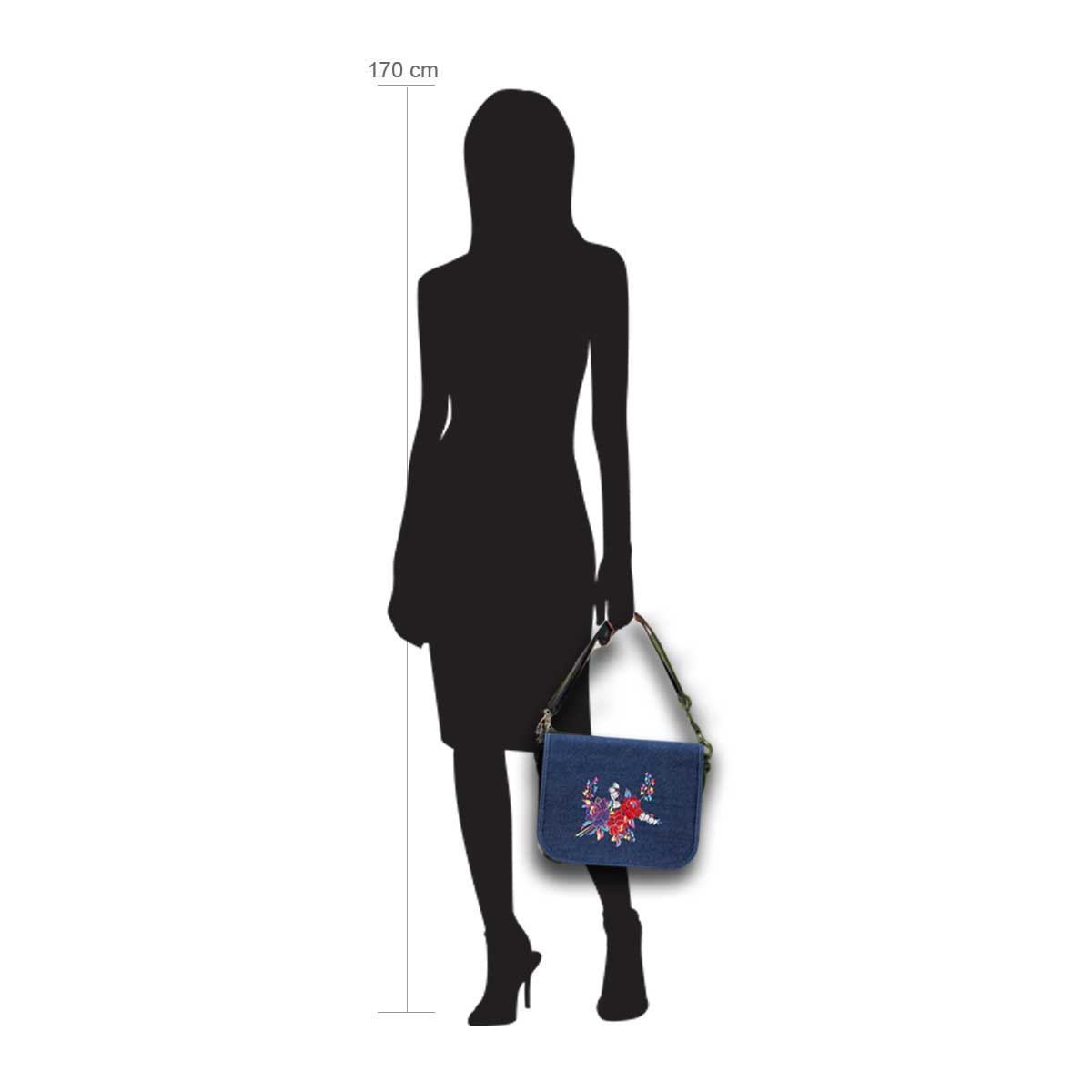 Modellpuppe 170 cm groß zeigt die Handtaschengröße an der Person Modell:Jeans