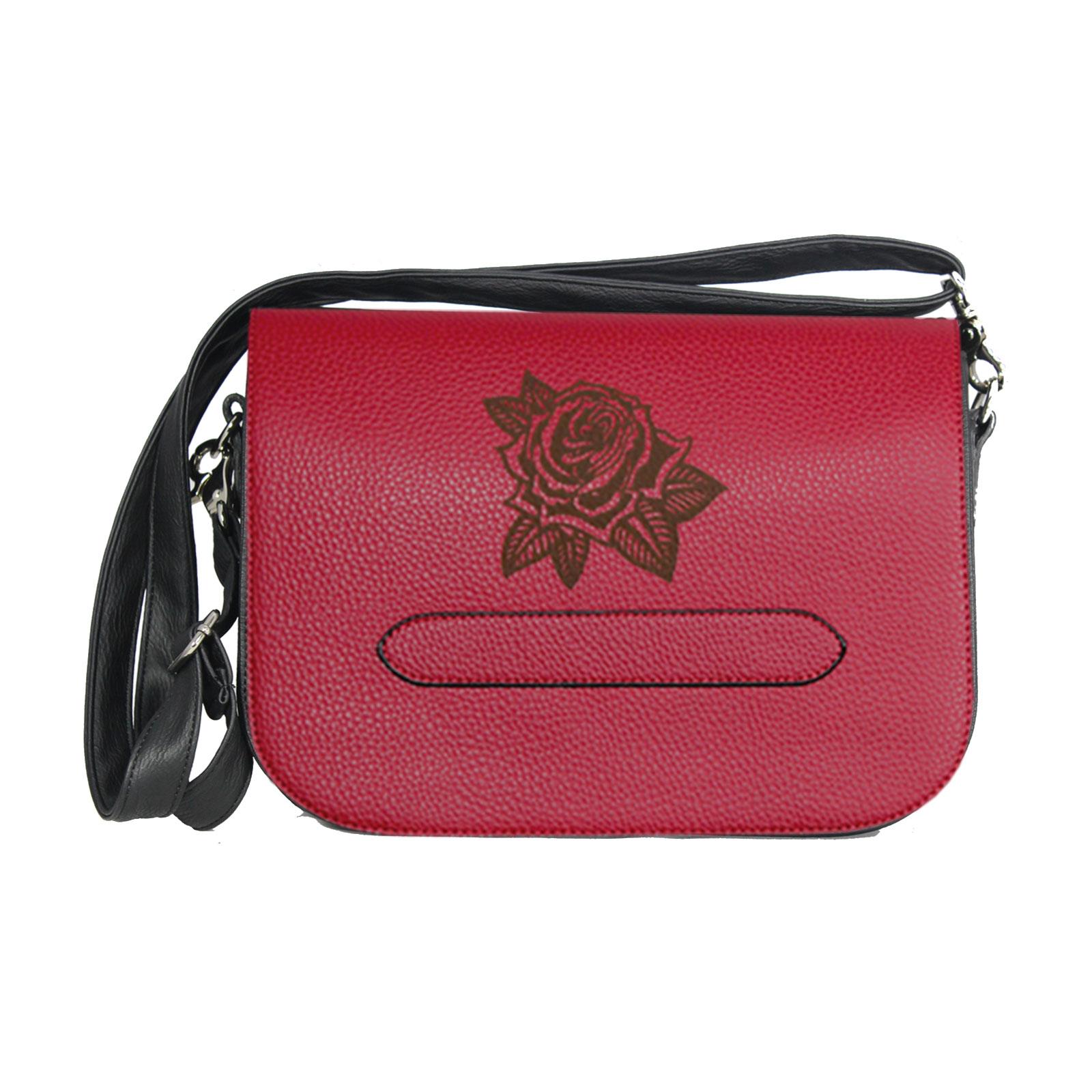 Rote Handtasche mit Lasergravur Rose