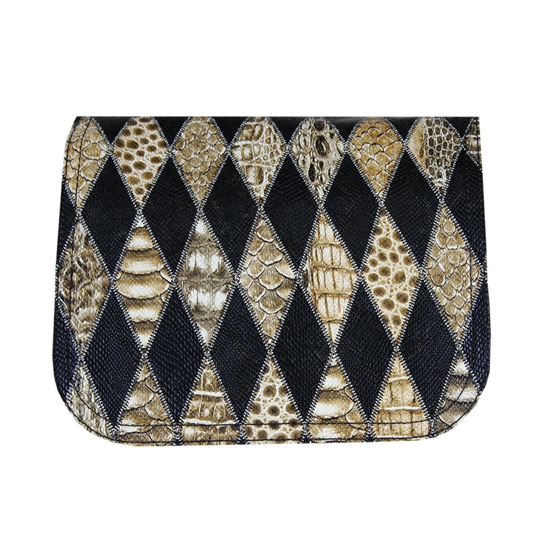 schwarz braunes Wechseldesign mit Rautenmuster für die Handtaschen von Delieta soft