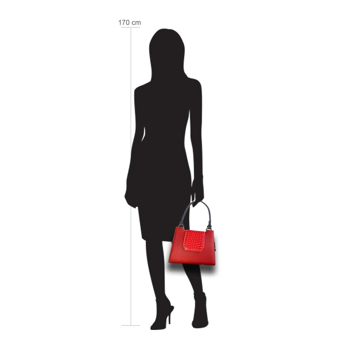 Modellpuppe 170 cm groß zeigt die Handtaschengröße an der Person Modell:Brisbane