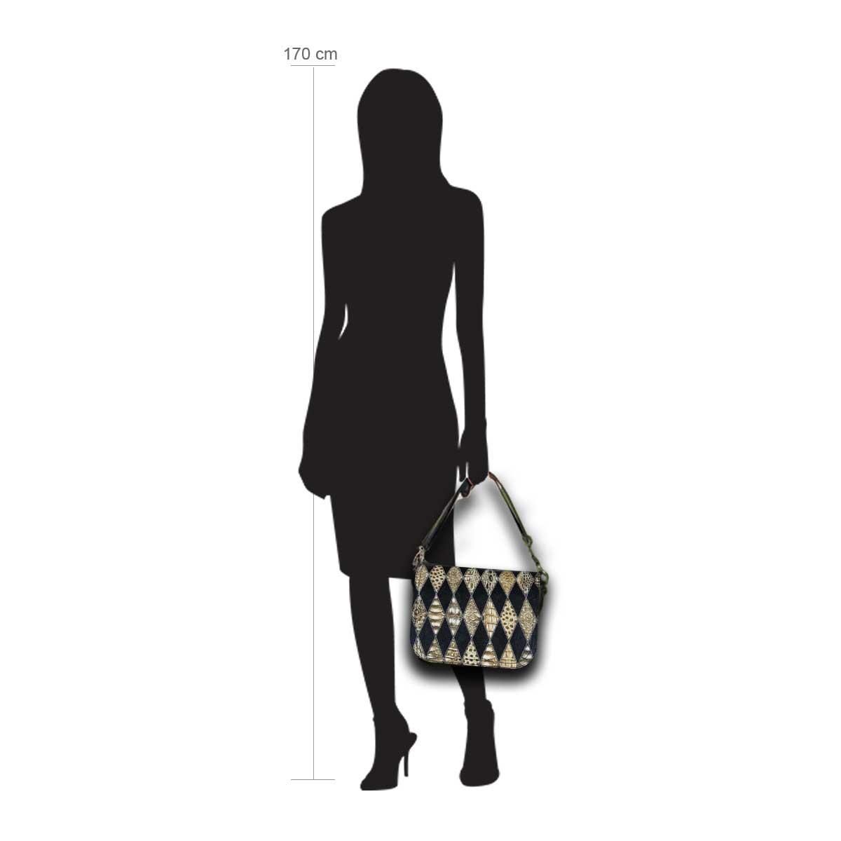 Modellpuppe 170 cm groß zeigt die Handtaschengröße an der Person Modell:Denver schwarz braun