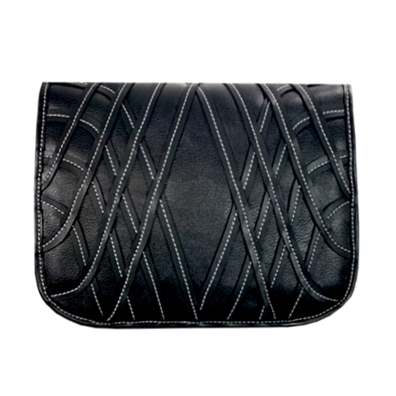 schwarzes Handtaschen Design mit weißen Steppnähten für die Delieta soft Bag Handtasche