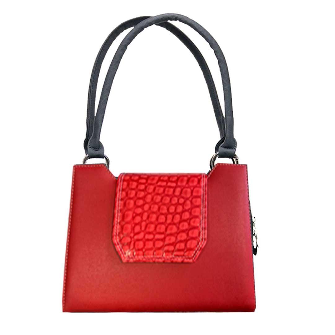 rote Handtasche mit Kroko farbener Lasche als Sparset Delieta mini
