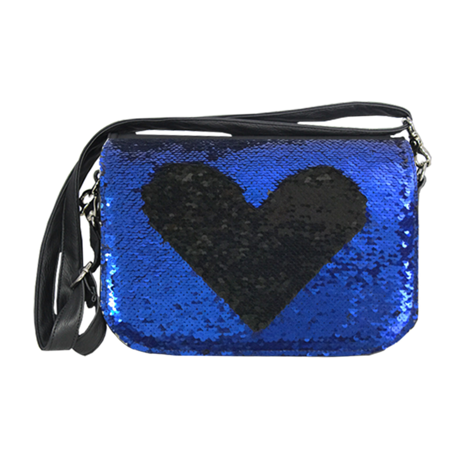 Paillettendesign in Blau mit Handtasche