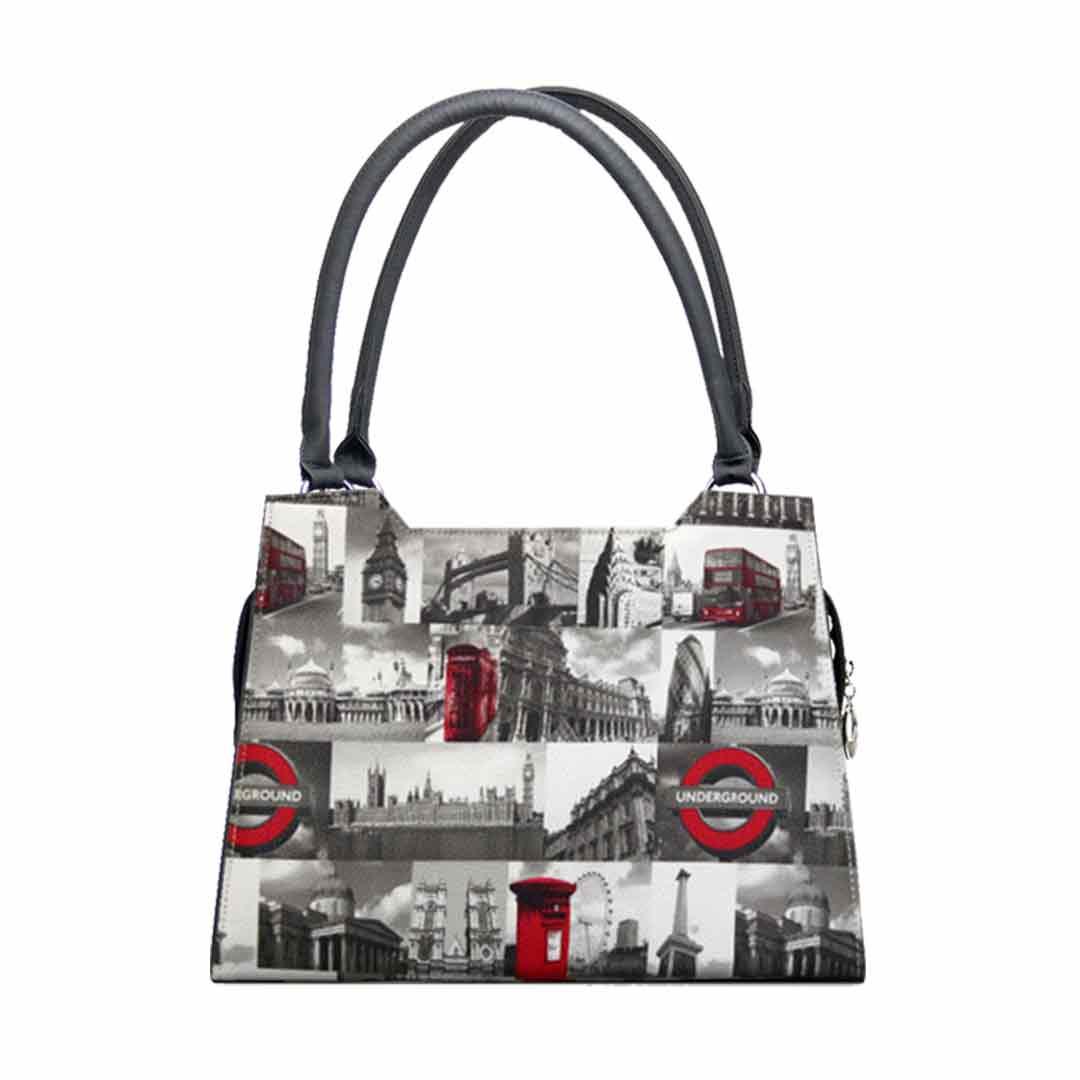Fotodruck mit englischen Designelementen in schwarz weiß und rot Modell elegance city London