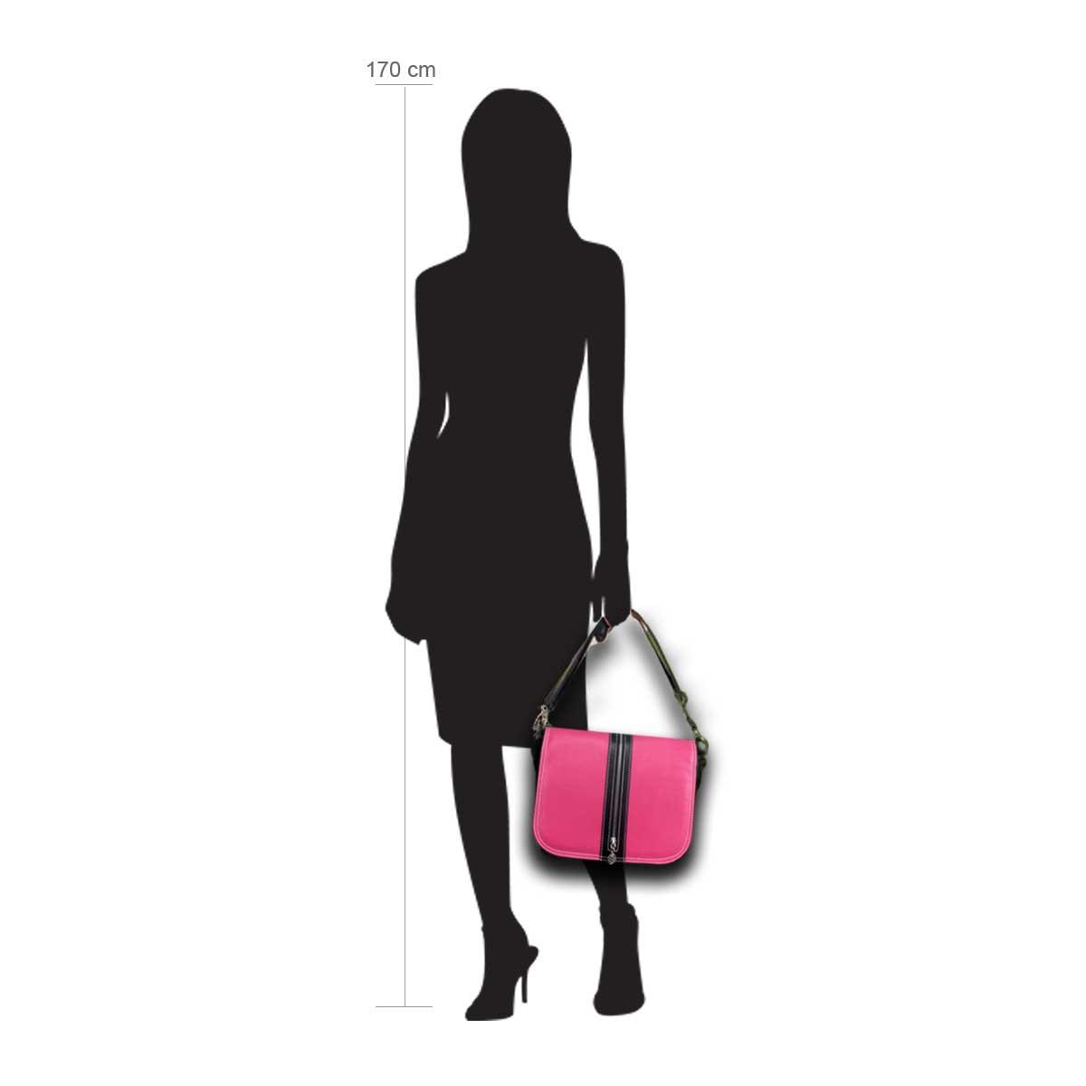 Modellpuppe 170 cm groß zeigt die Handtaschengröße an der Person Modell:Pink Lady