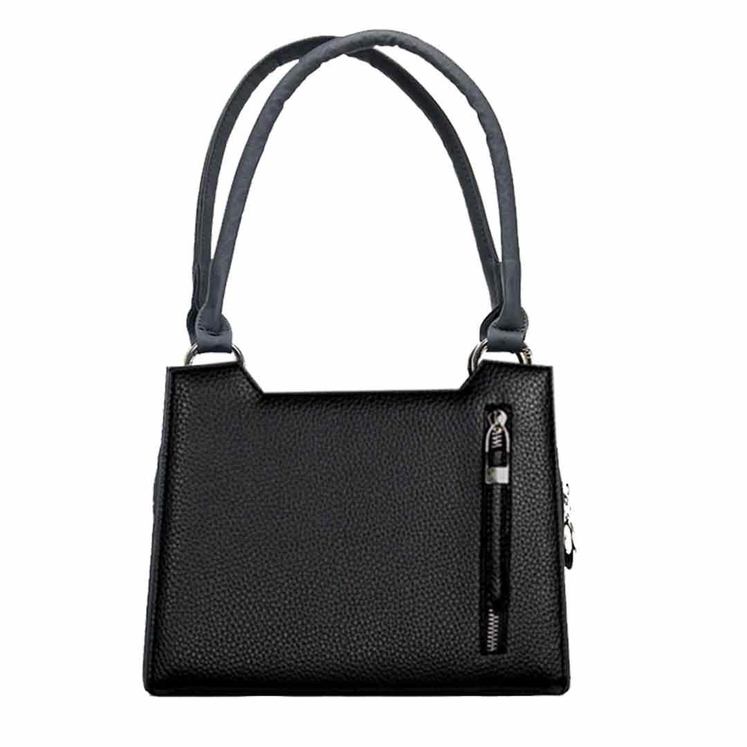 schwarze Handtasche mit senkrechten Deko Reißverschluss am Design  Sparset