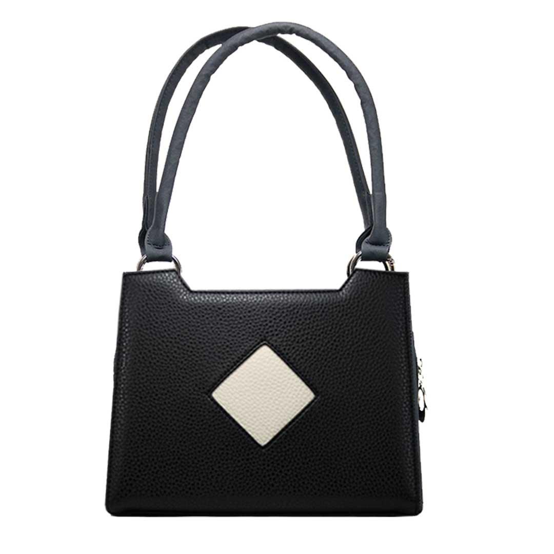 schwarze Damenhandtasche mit crenfarbenes Karo im Komplett Set