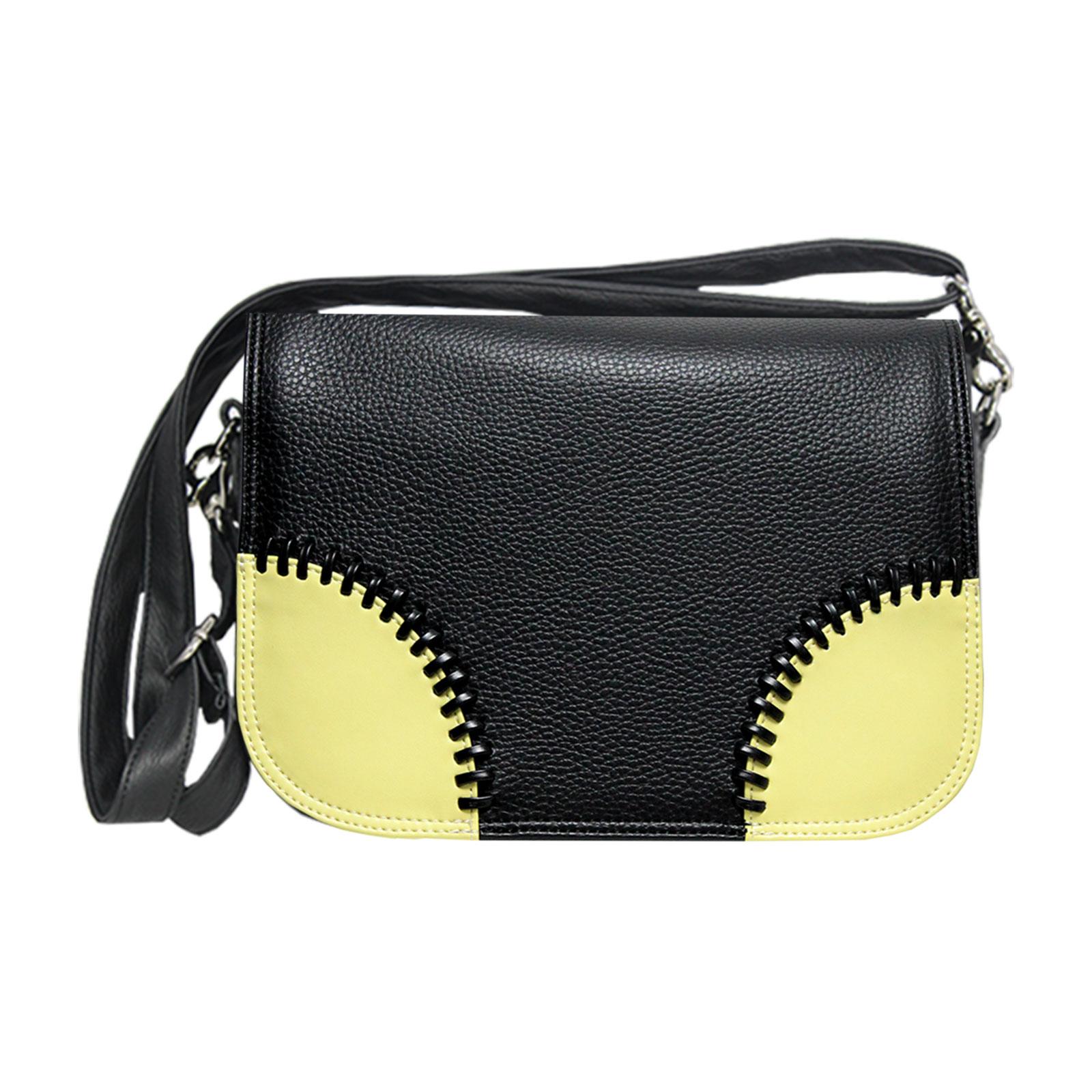 Croos over Handtasche in schwarz mit gelben Ecken von Delieta soft
