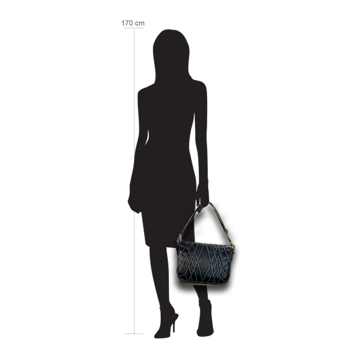 Modellpuppe 170 cm groß zeigt die Handtaschengröße an der Person Modell:Arriba