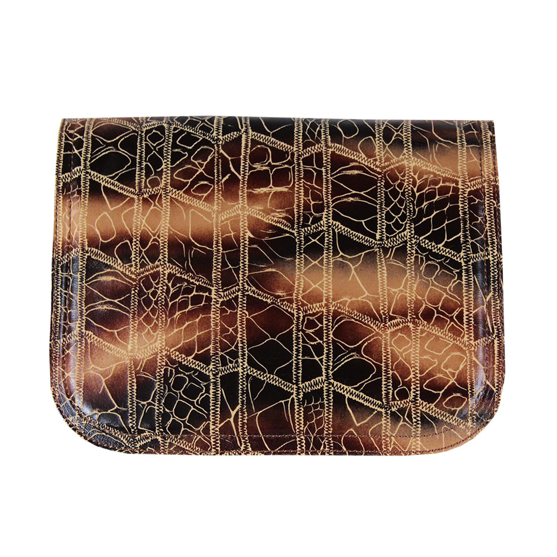 braun schwarzes Design mit goldfarbenen Ziernähten für die Damenhandtasche von Delieta