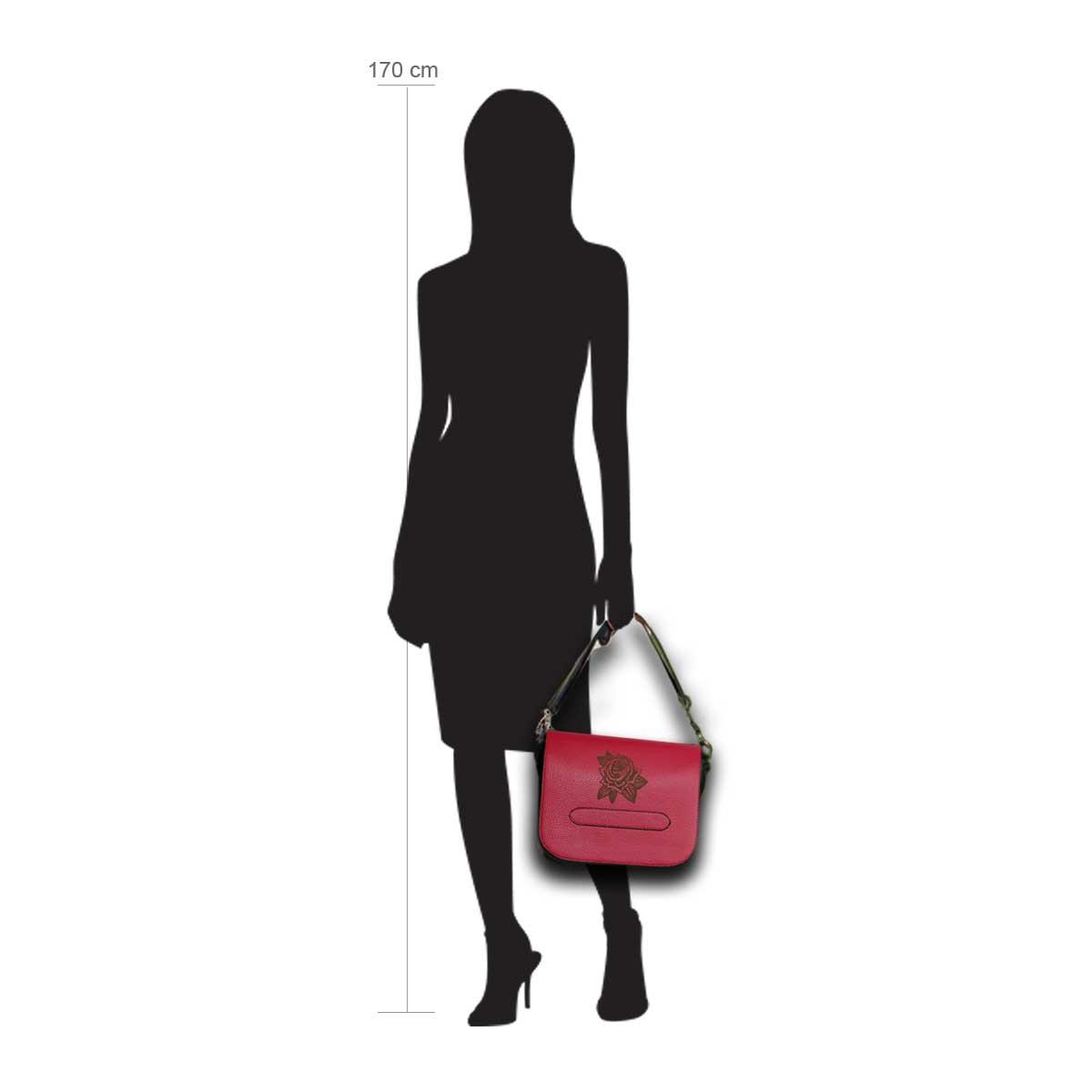 Modellpuppe 170 cm groß zeigt die Handtaschengröße an der Person Modell:Rose