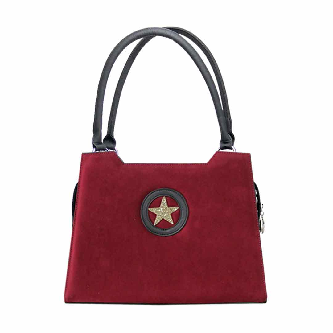 rote Handtasche elegance mit goldfarbenen Stern im Zentrum