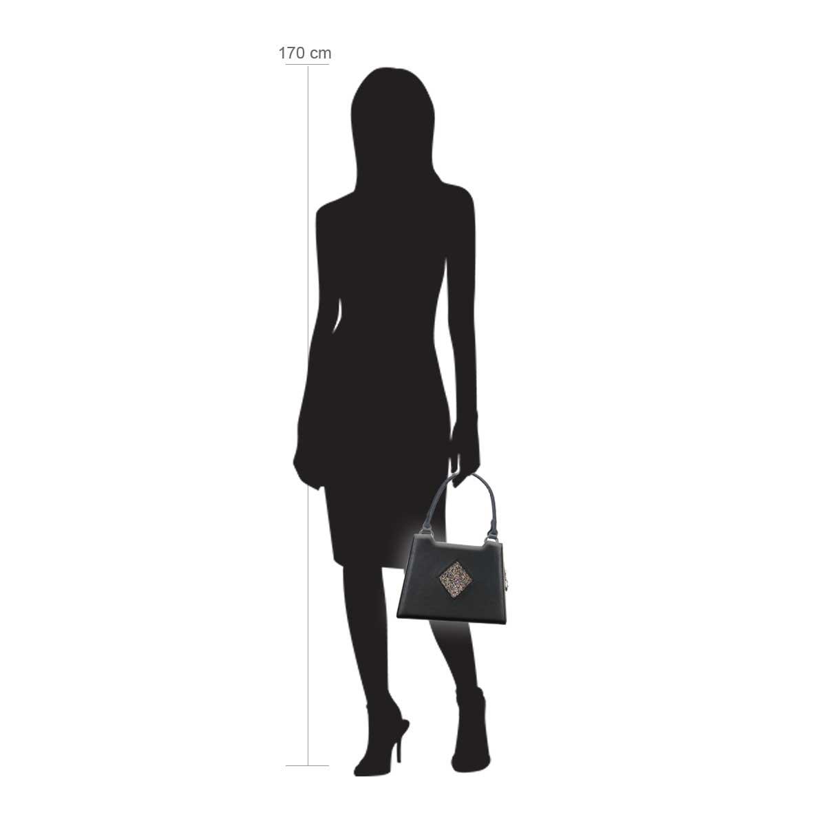 Modellpuppe 170 cm groß zeigt die Handtaschengröße an der Person Modell:Dublin Glitzer