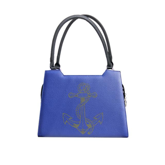 blaue Handtasche elgance mit schwarzen Anker