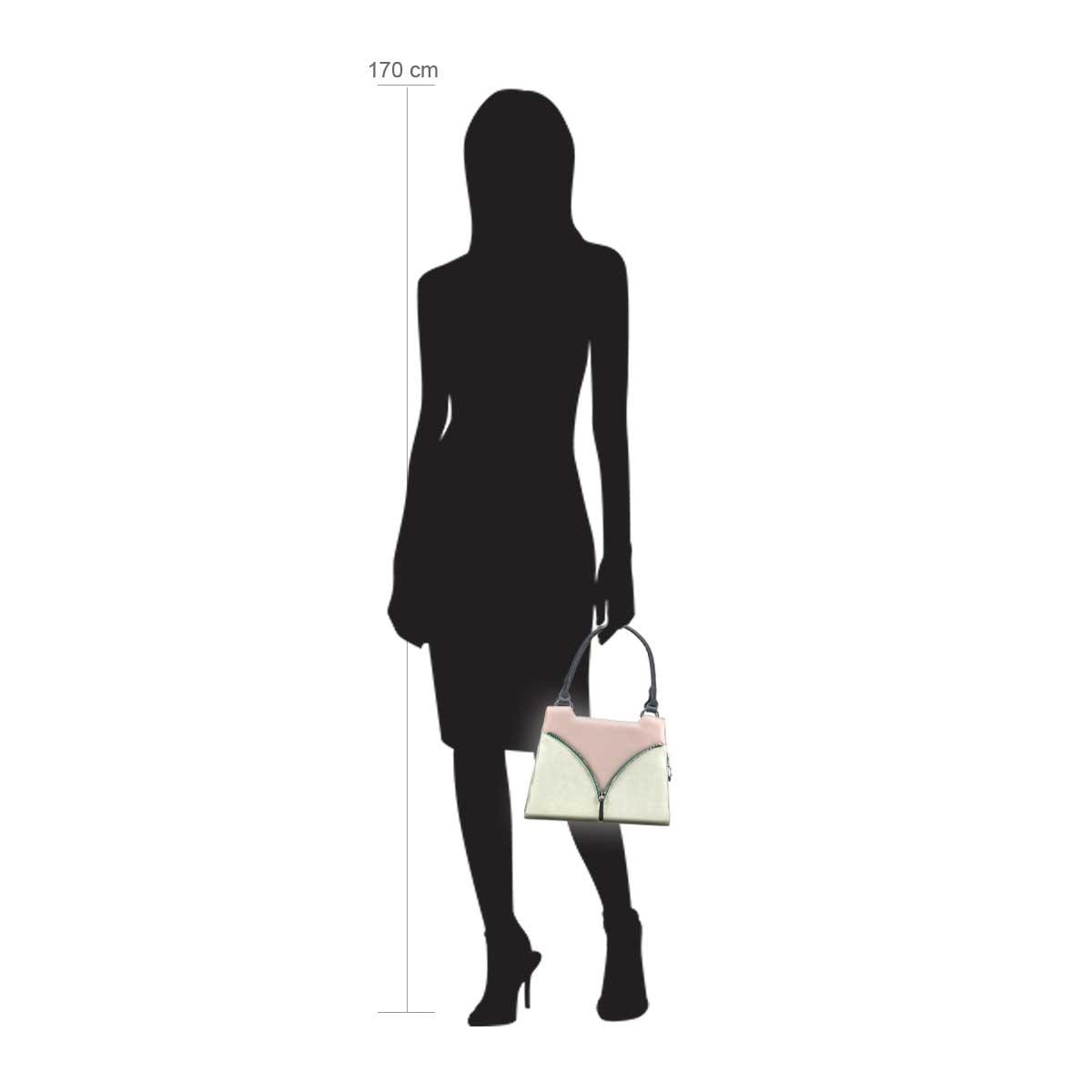 Modellpuppe 170 cm groß zeigt die Handtaschengröße an der Person Modell:Palau
